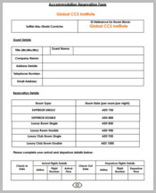 Restaurant Accomadtion Reservation Form
