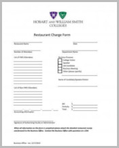 Restaurant Charge Form Sample