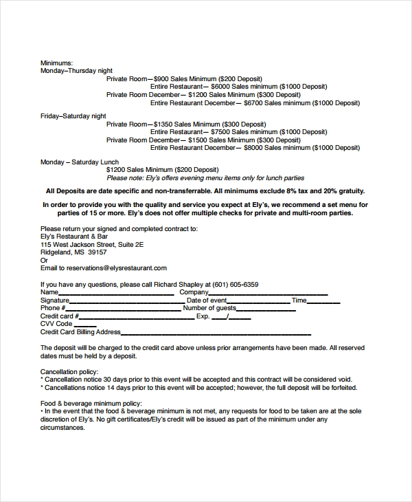 restaurant contract information form
