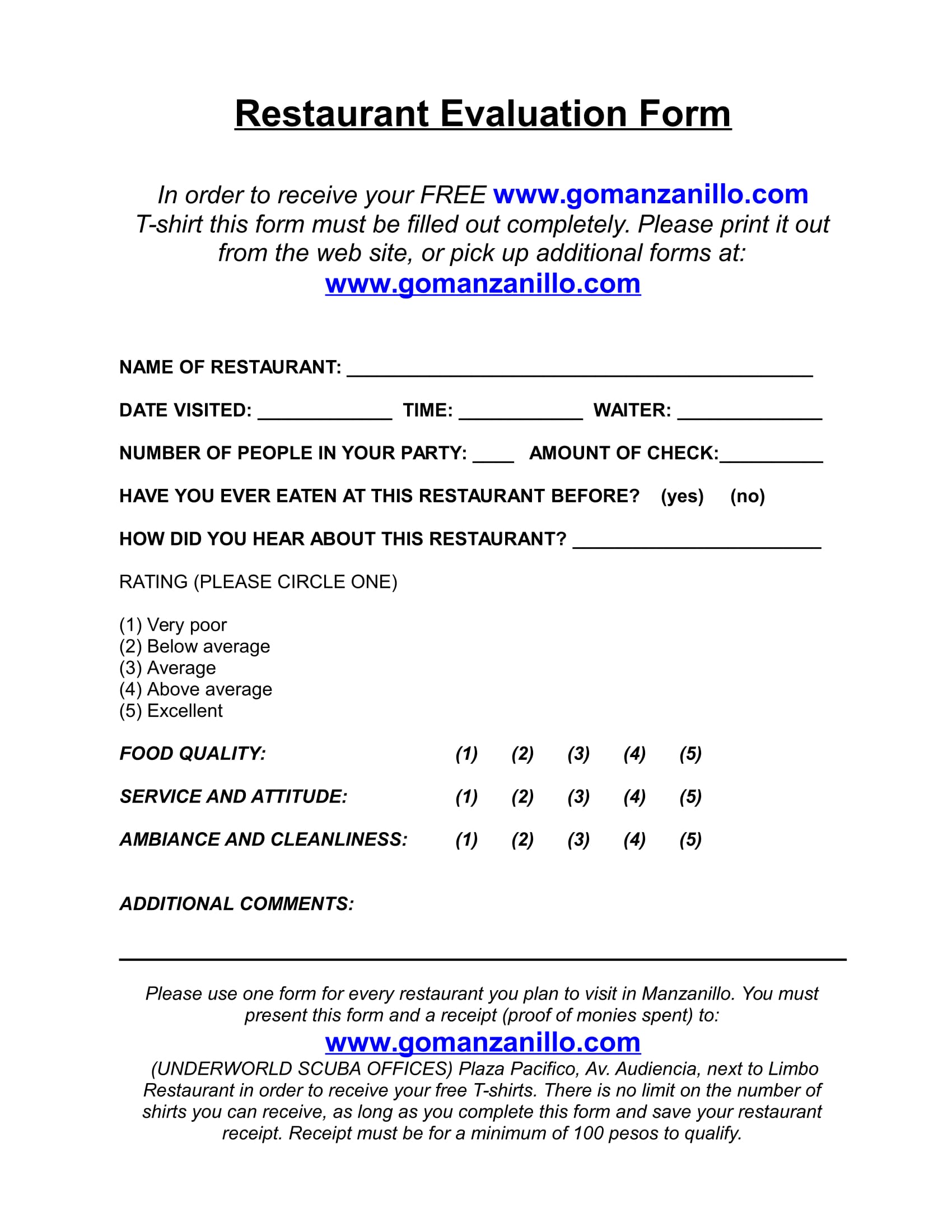Free 8 Restaurant Evaluation Forms In Word Pdf