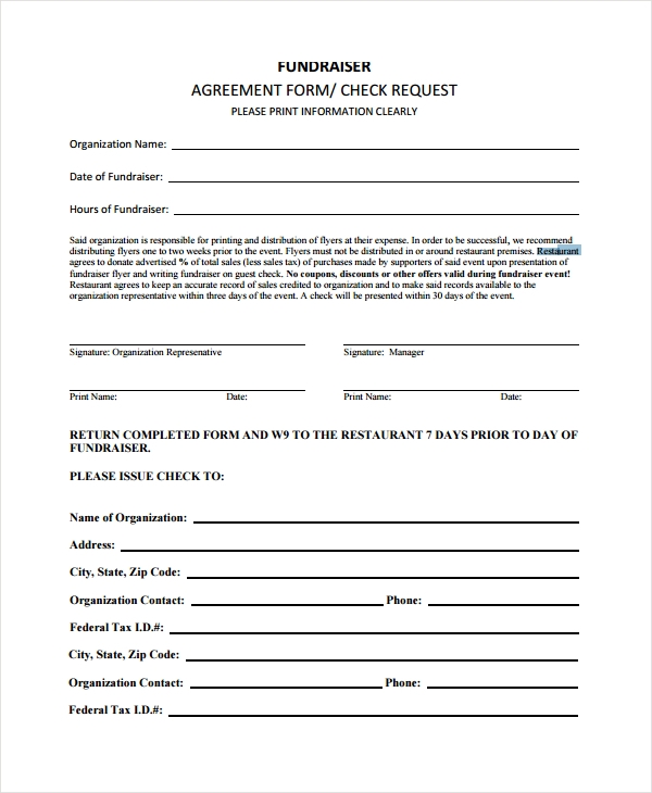 restaurant fundraiser agreement form