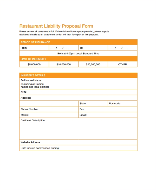 restaurant liability proposal form