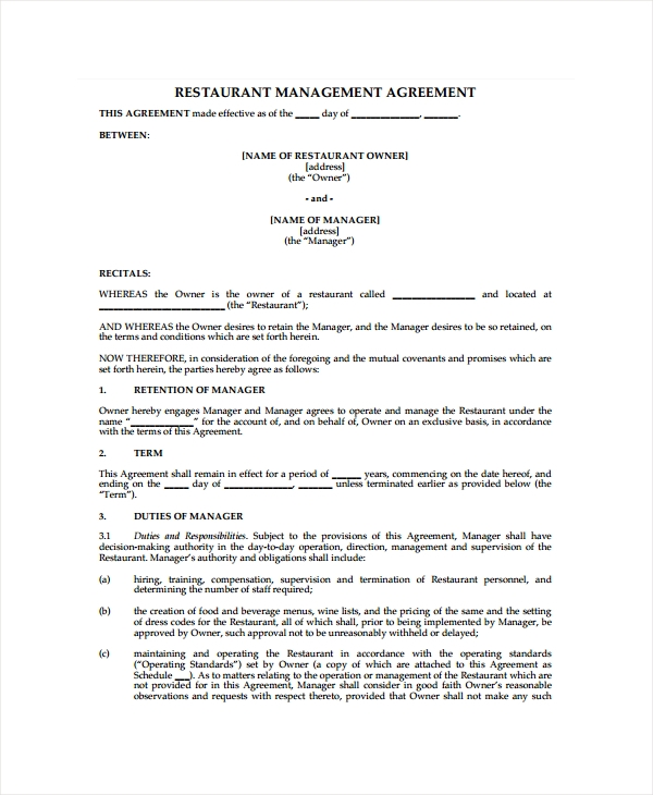 restaurant management agreement form