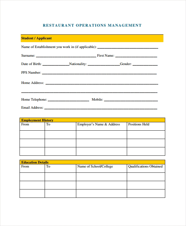 restaurant management operations form