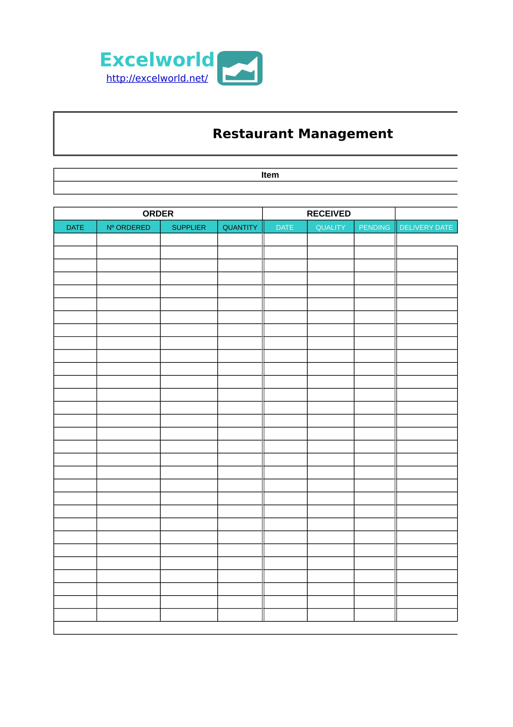 restaurant management template in excel 1