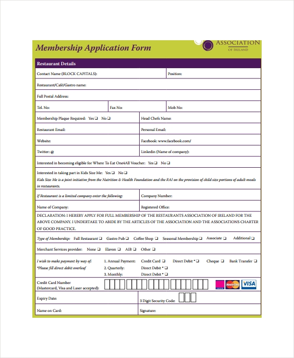 restaurant membership application form
