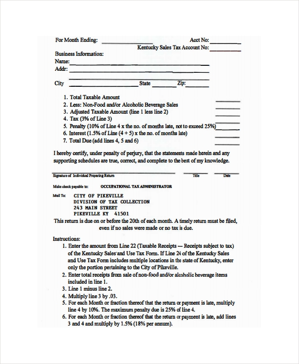 restaurant monthly return tax form