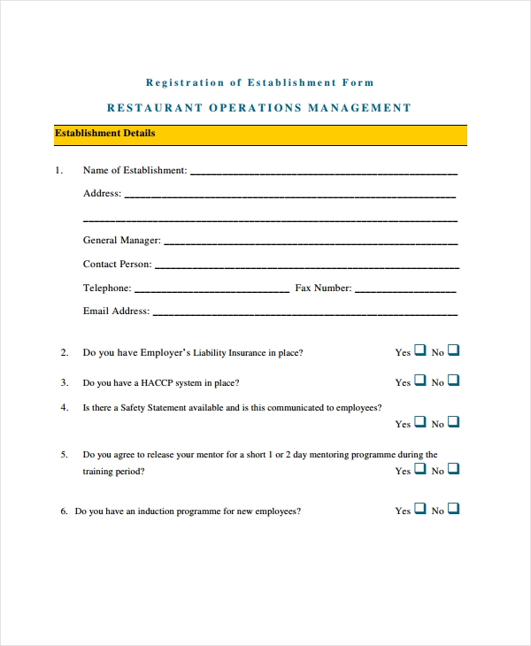 restaurant operations management form