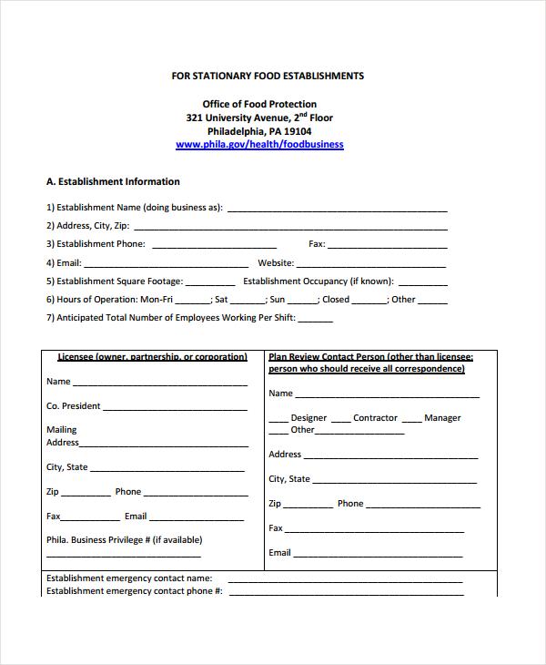 restaurant plan application form