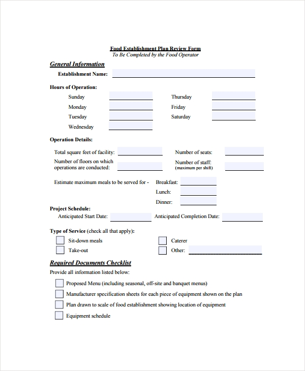 restaurant plan review form