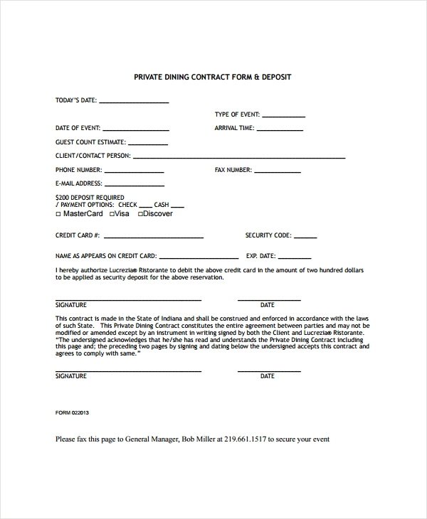 restaurant private contract form