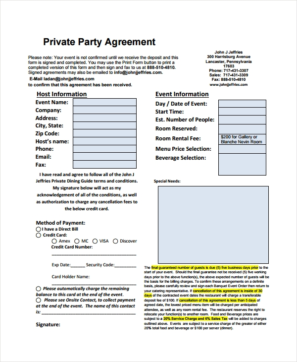 restaurant private party agreement form