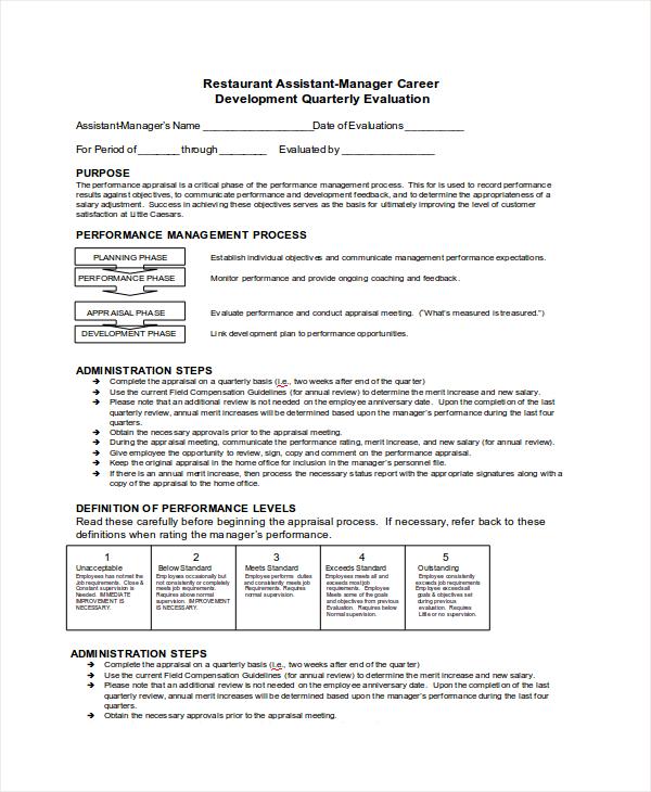 restaurant quarterly evaluation form