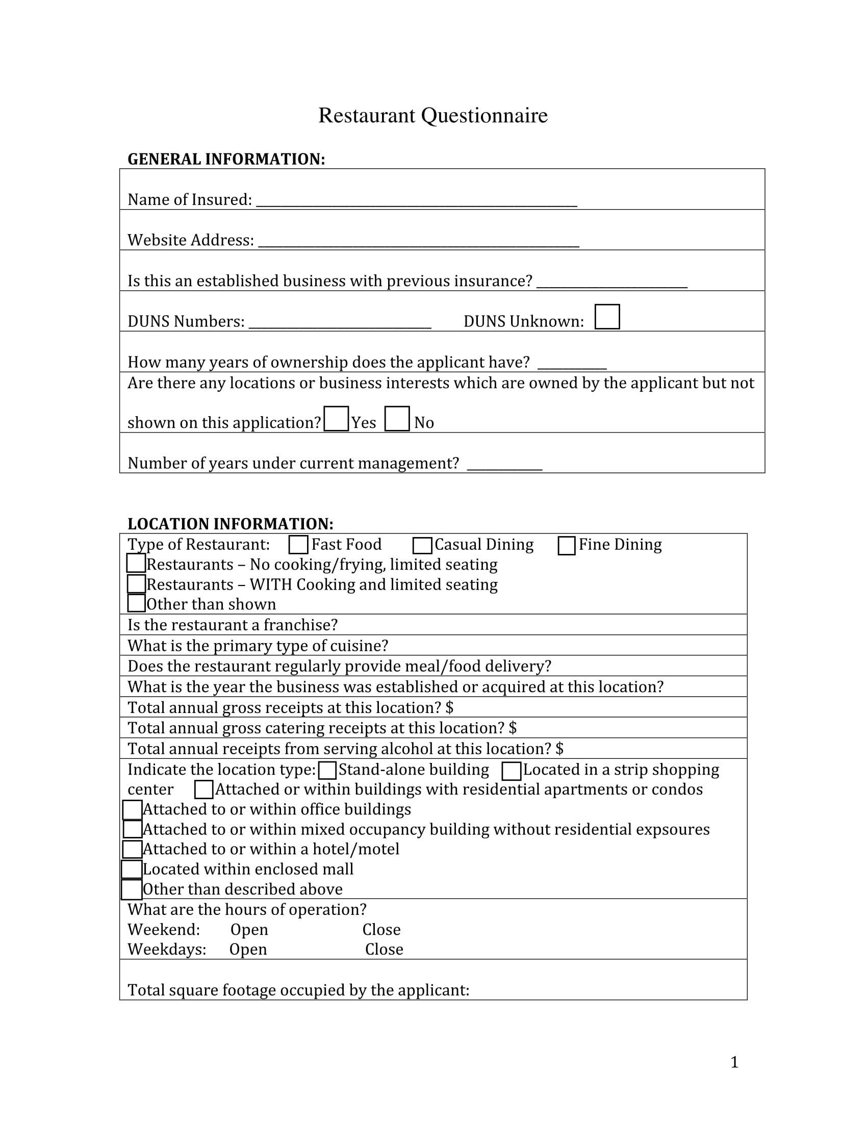 restaurant questionnaire form sample 1