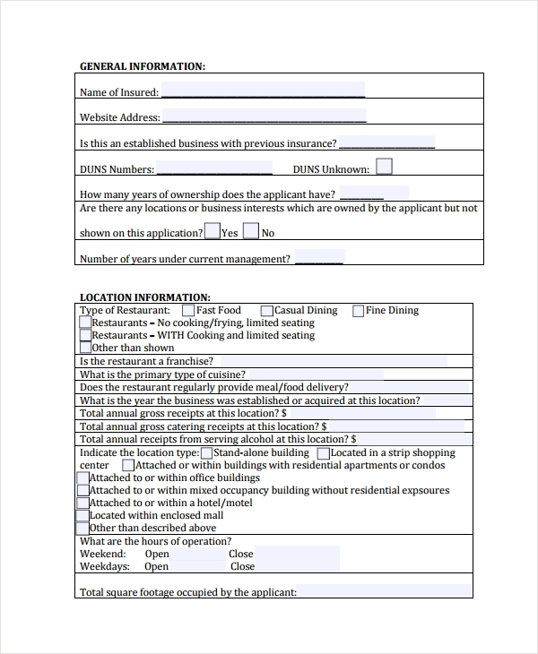 restaurant questionnaire operations form