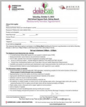 Restaurant Vendor Agreement Form