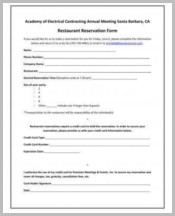 Sample Restaurant Reservation Form