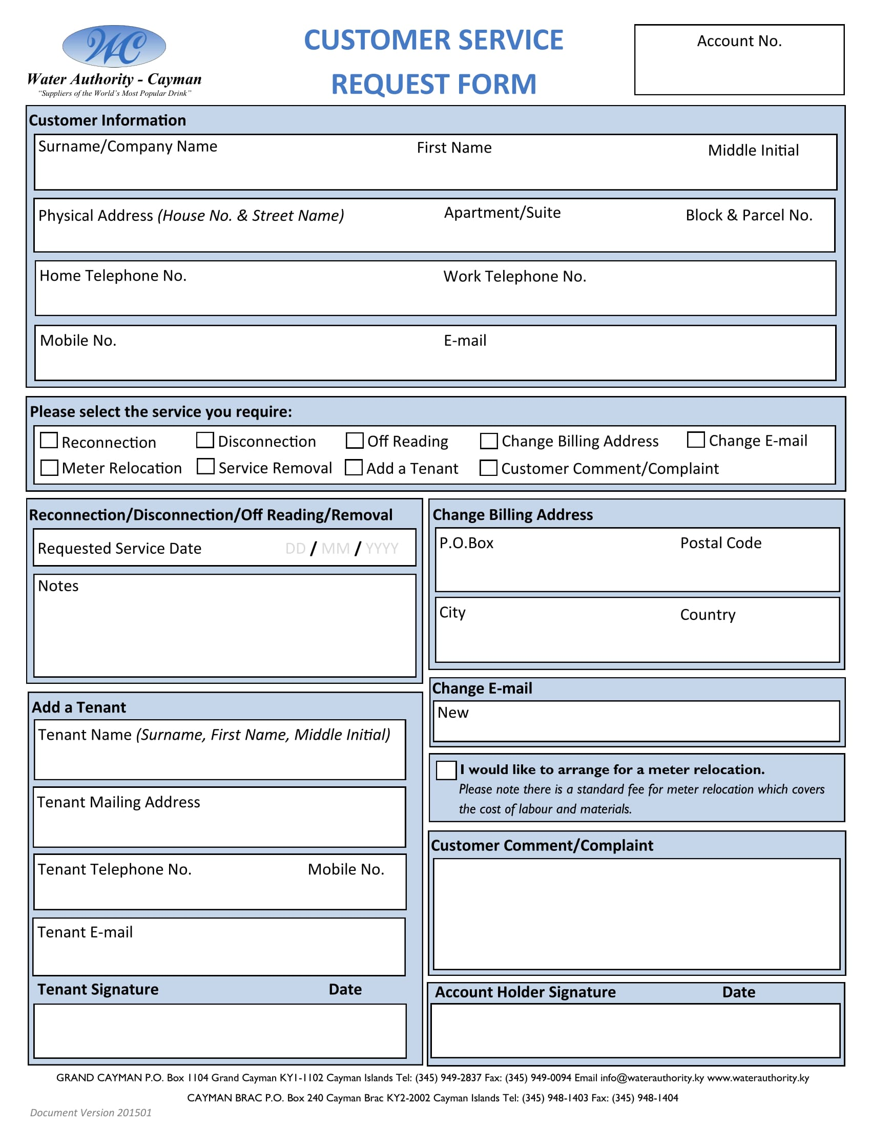 sample for customer service request form 1