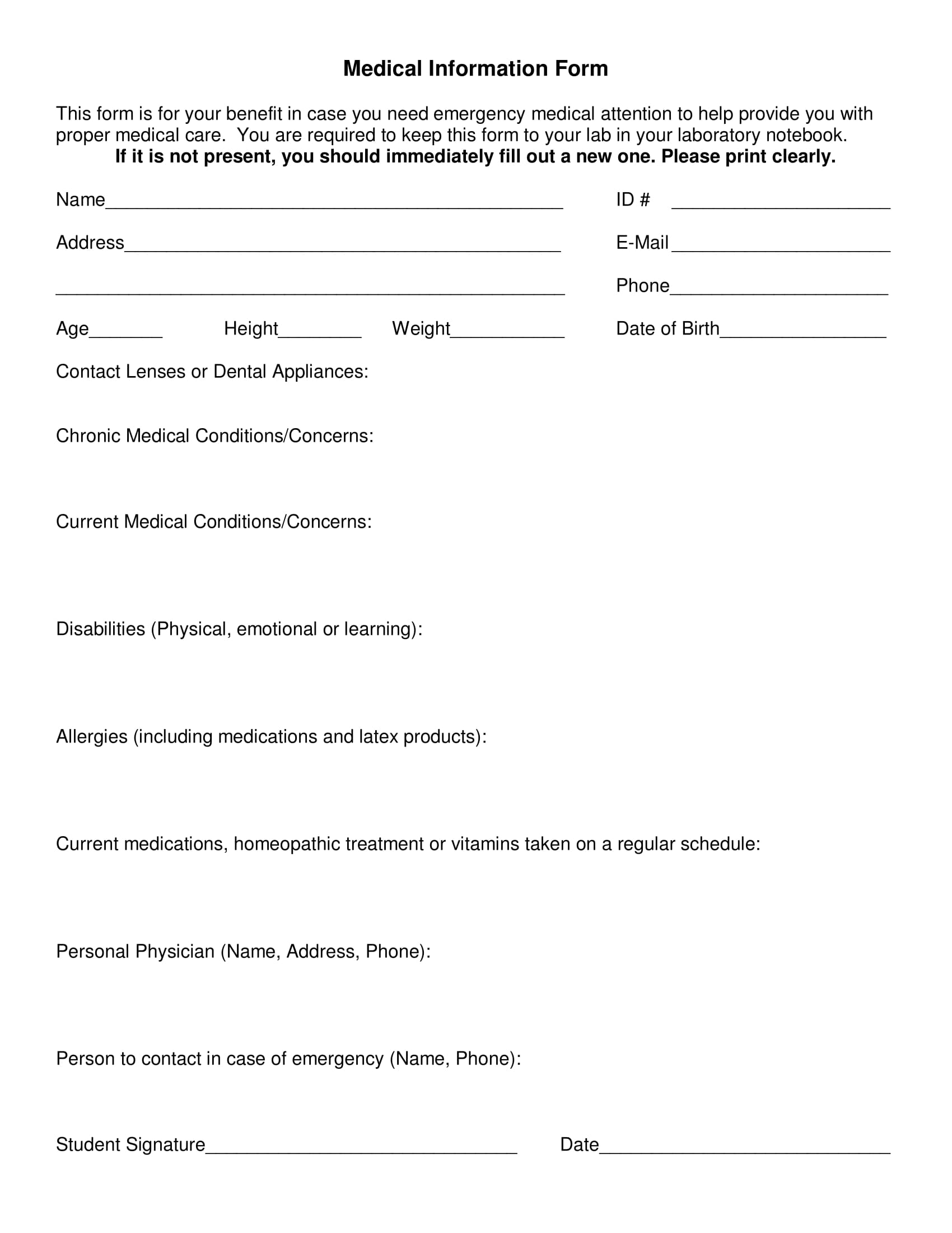 simple medical information form 1