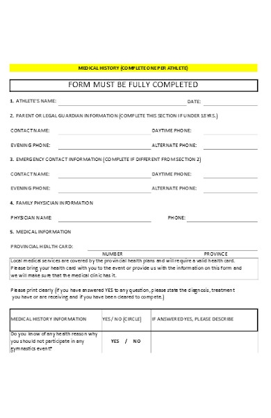 simple medical information form