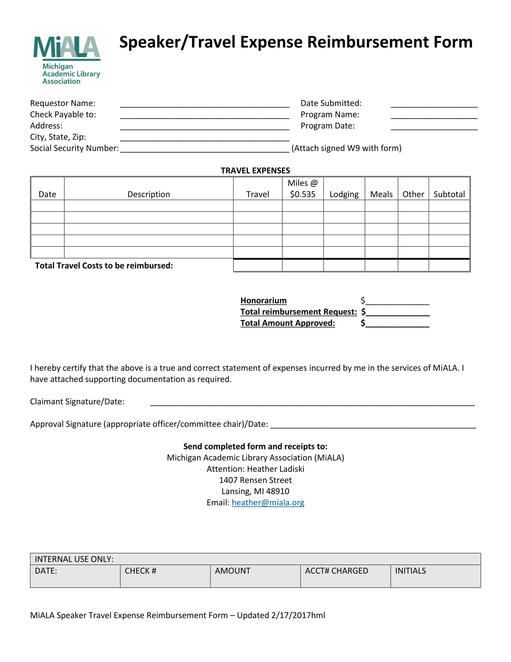 speaker travel reimbursement form 1