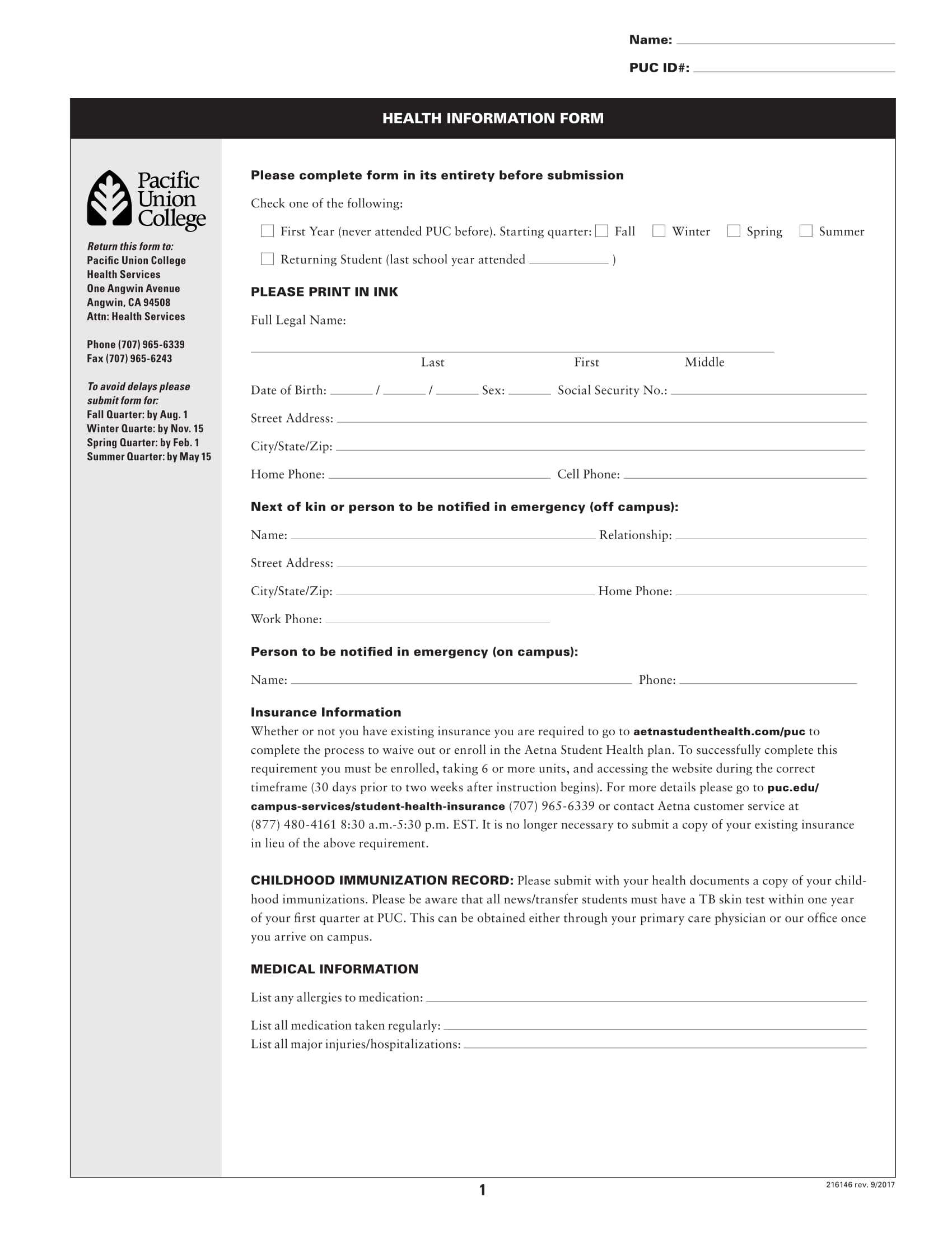standard health information form for students 1
