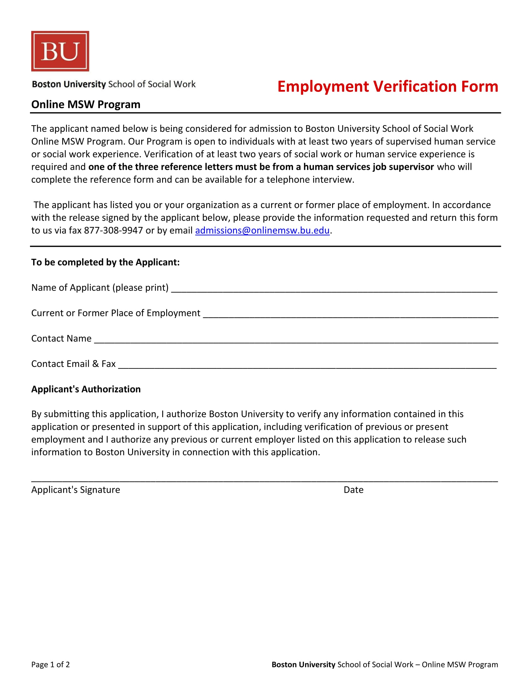 university employment verification form 1
