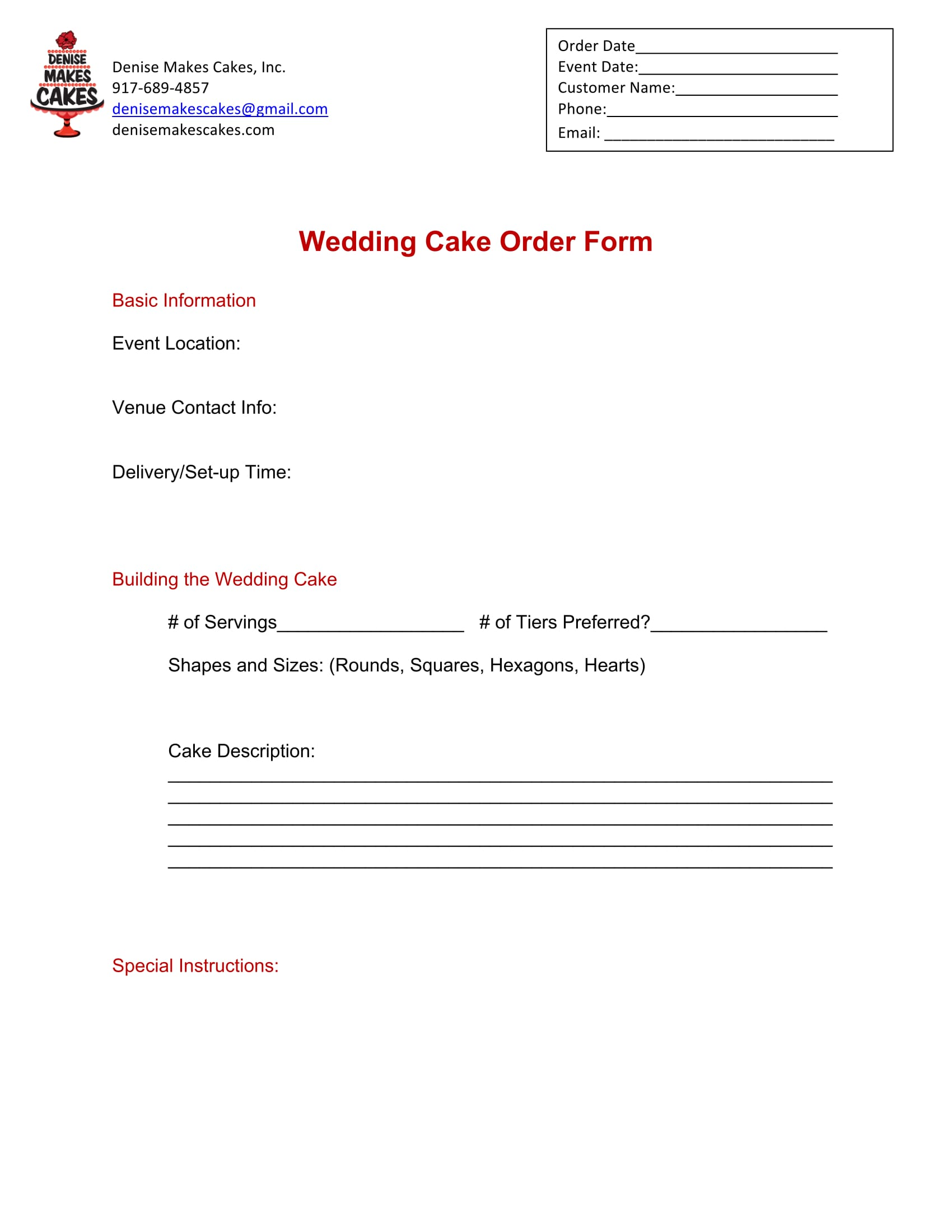 wedding cake order form 1