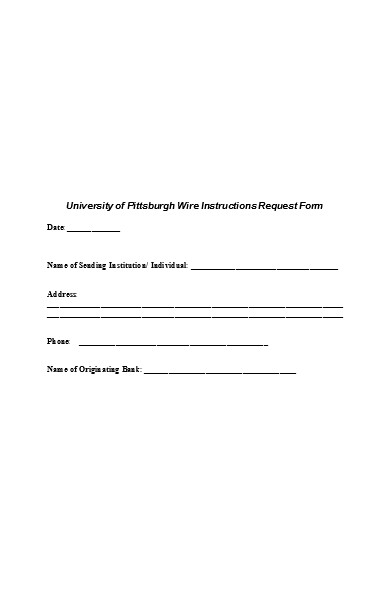 wire transfer instructions request form