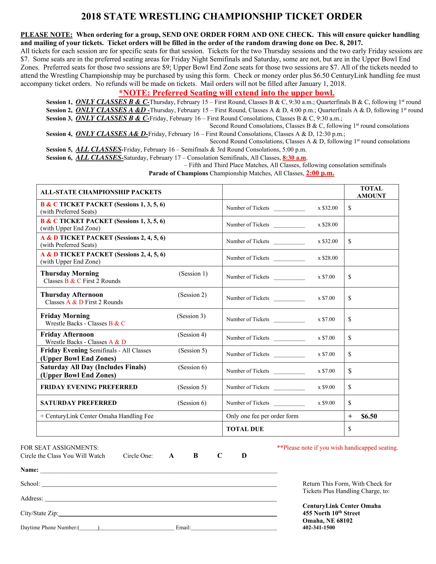 wrestling championship ticket order form 1
