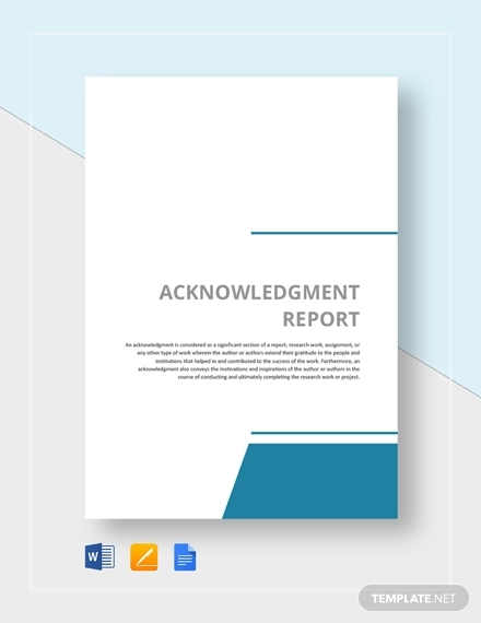 acknowlegement report