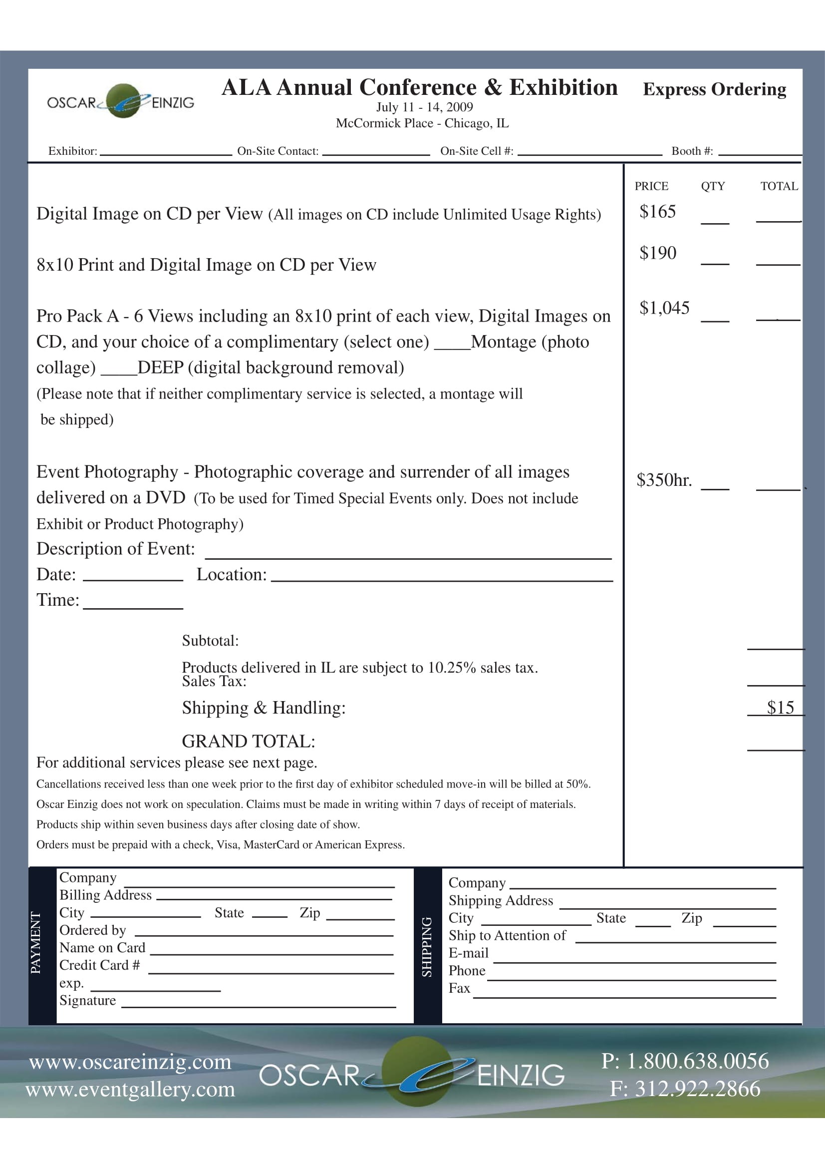 annual photography order form 2