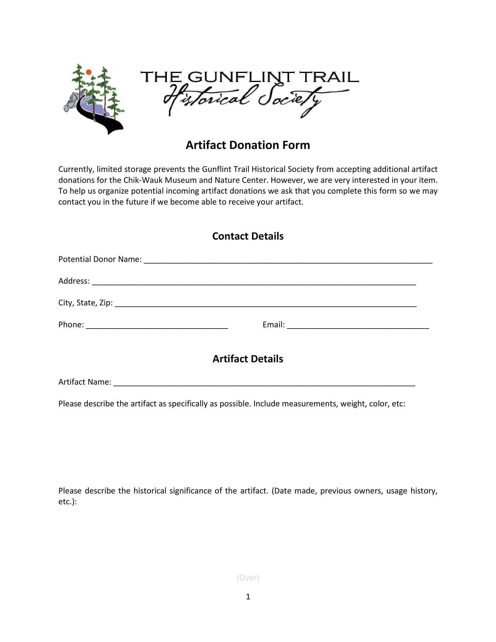 artifact donation form 1