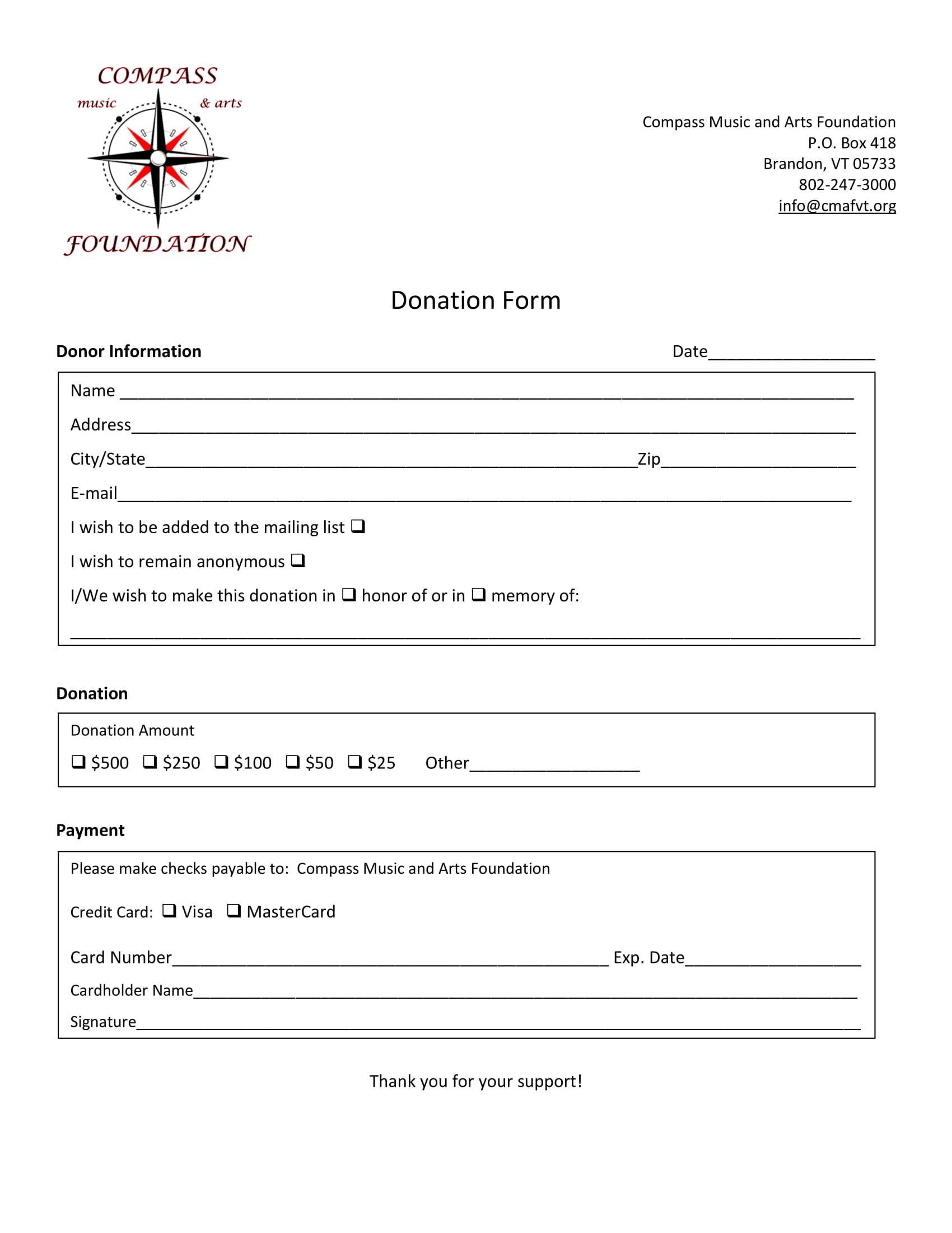 arts foundation donation form 1