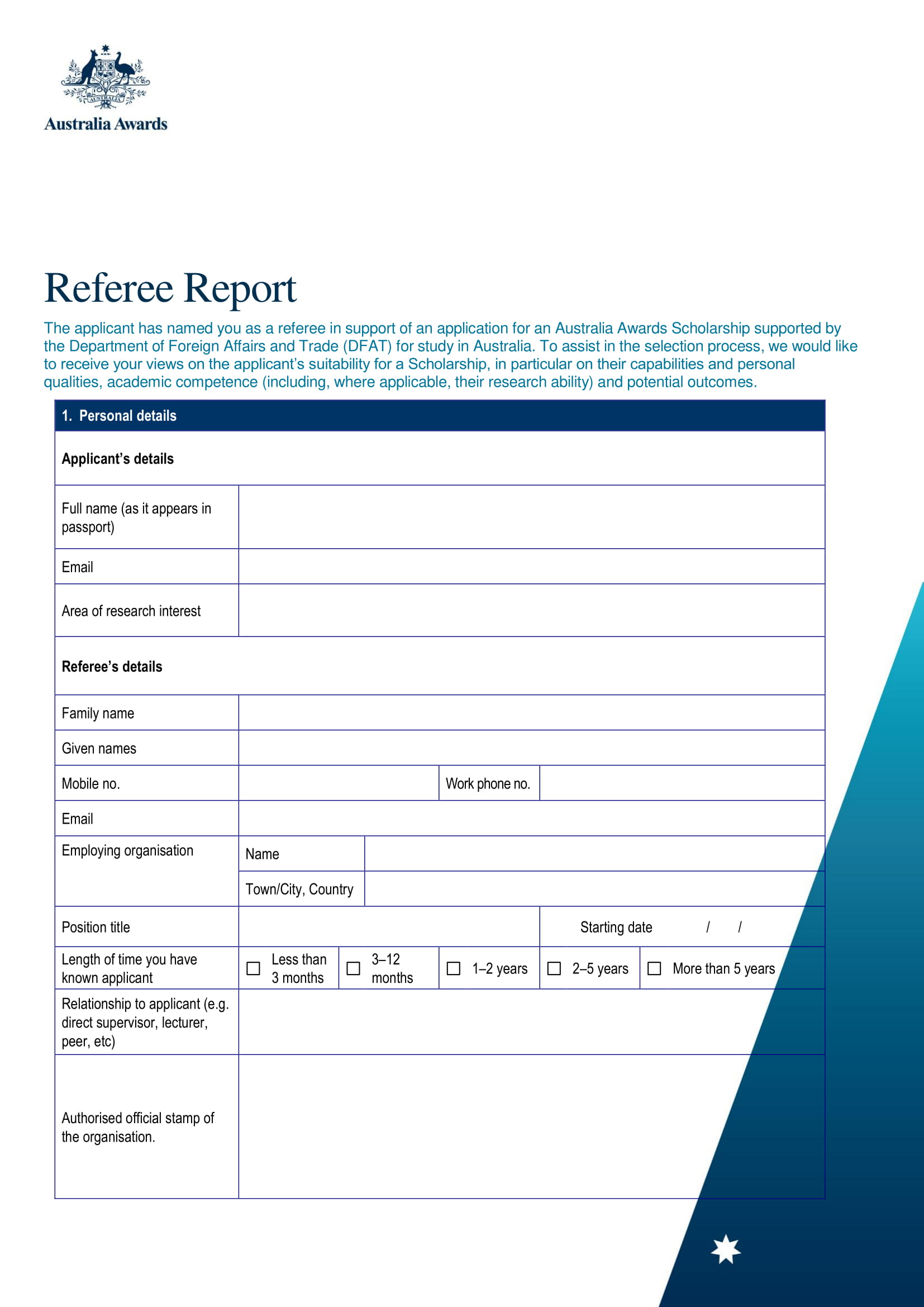 basic applicant's refree report form 1