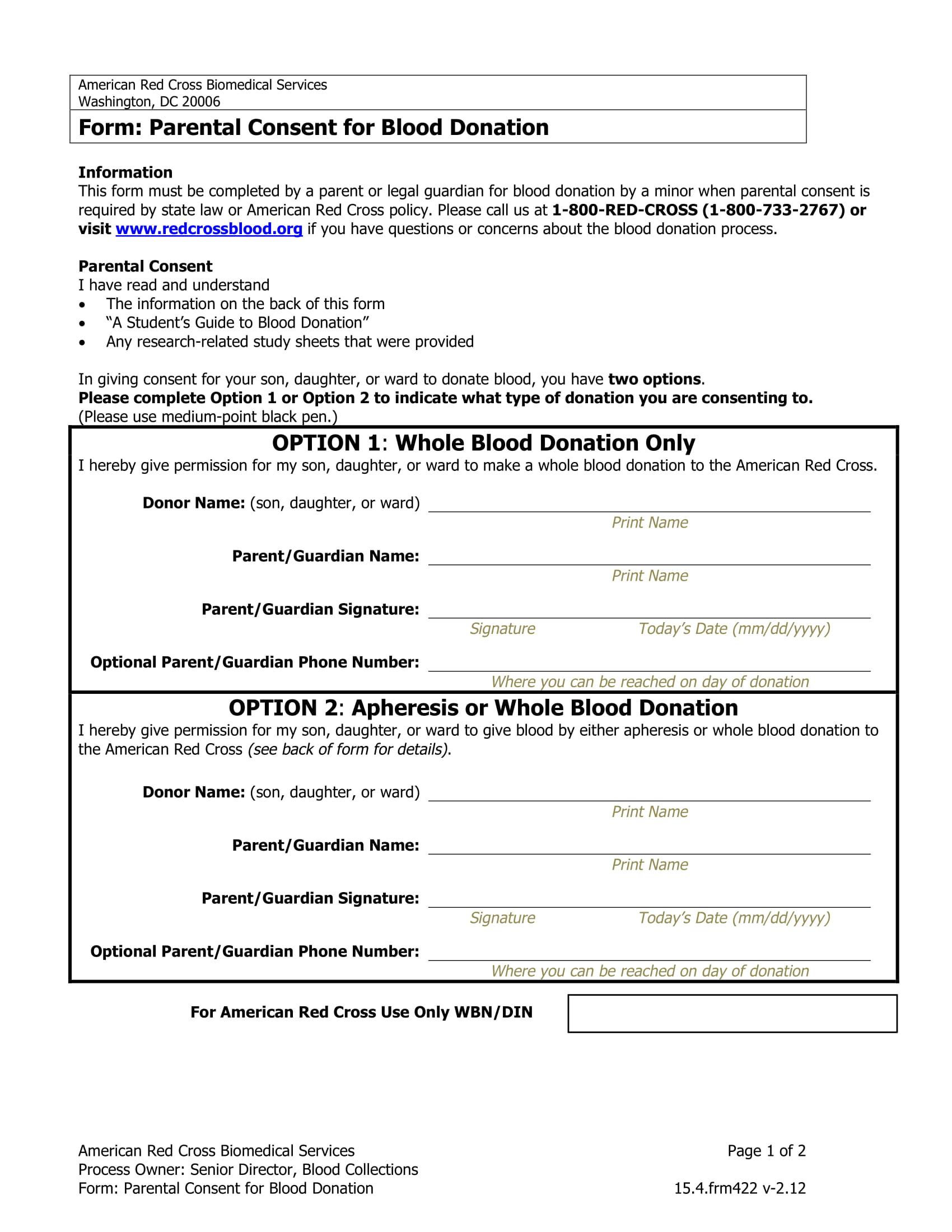 blood donation parental consent form 1