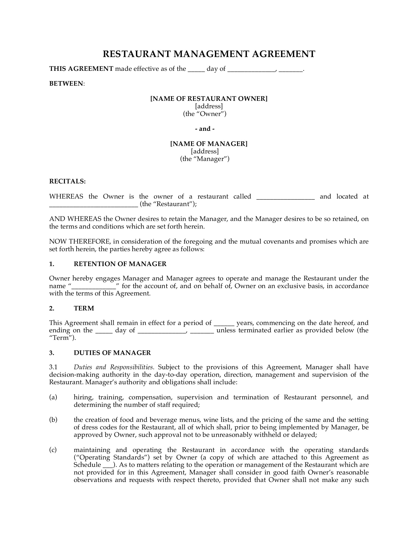 business restaurant agreement form 2