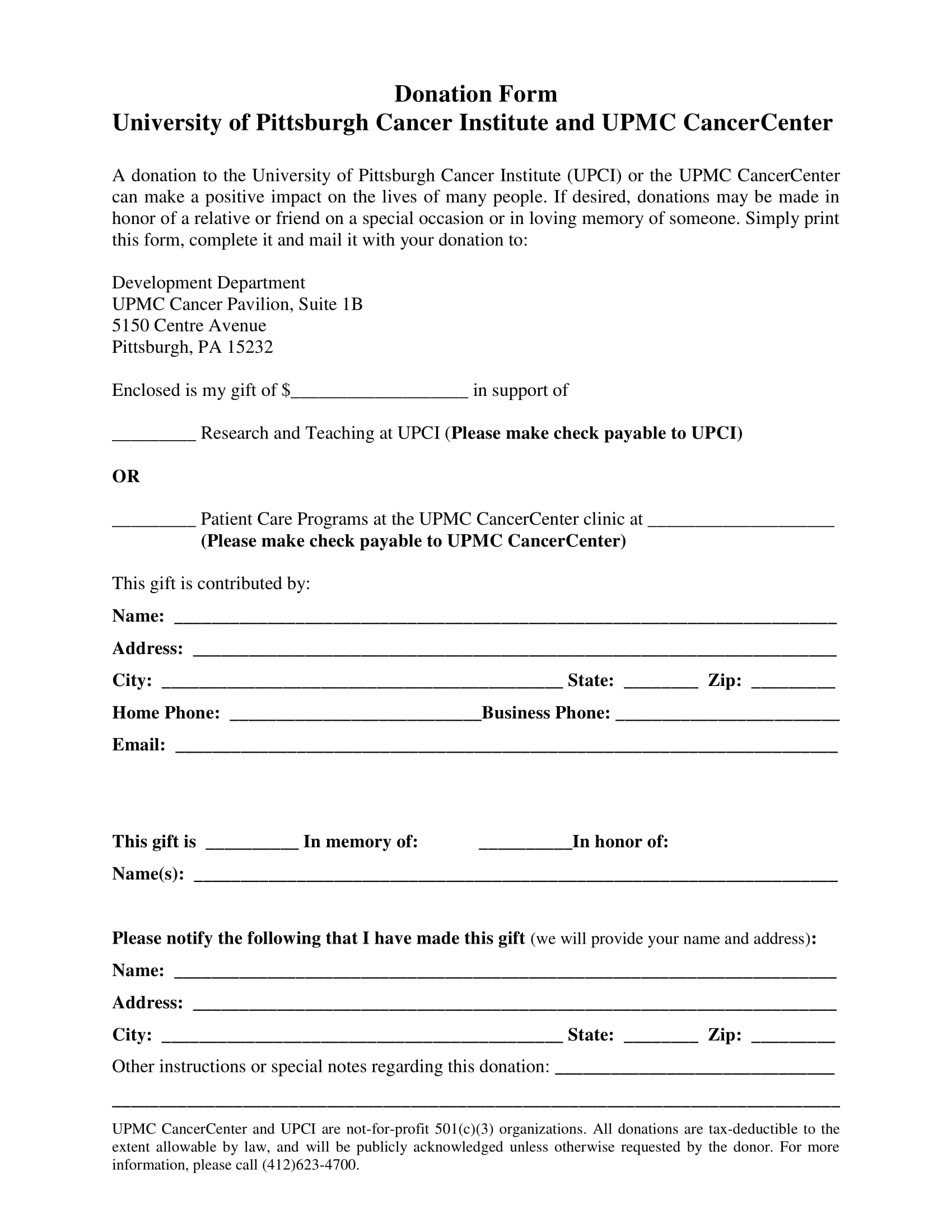 cancer center donation form 1