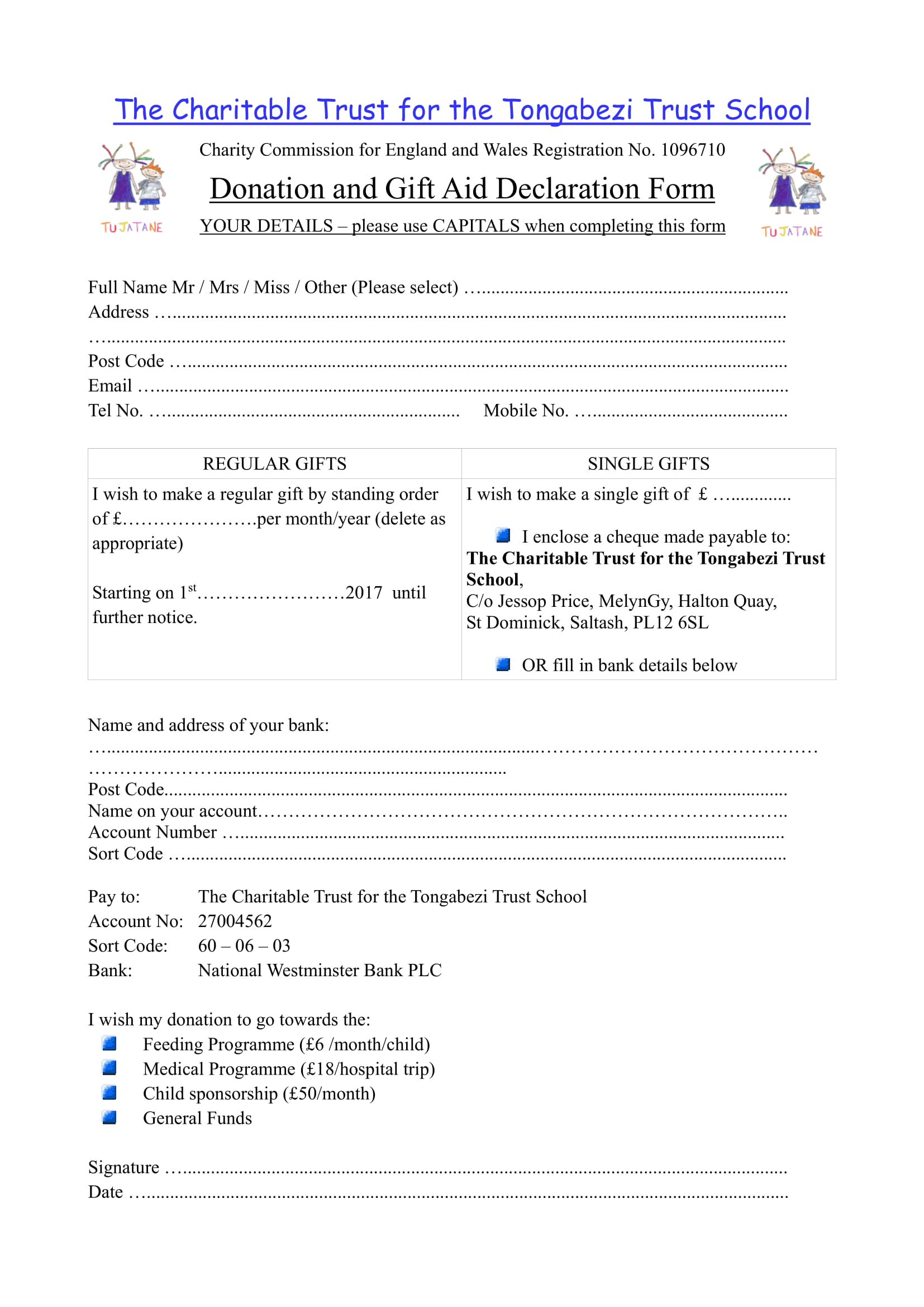 charitable trust donation form 1