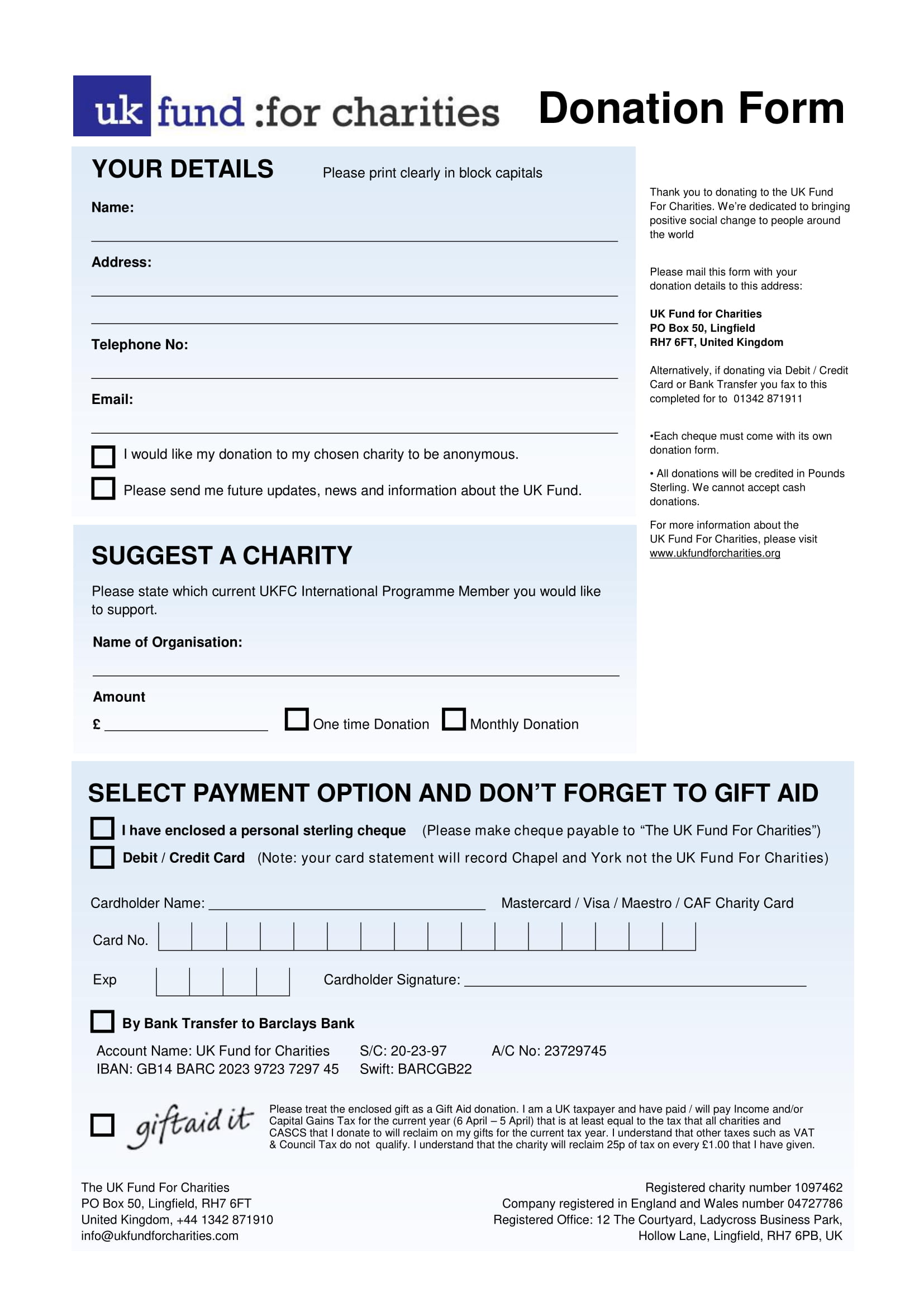 Free 5 Charity Donation Forms In Pdf