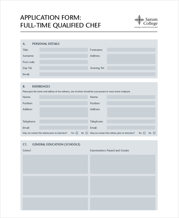 chef application form
