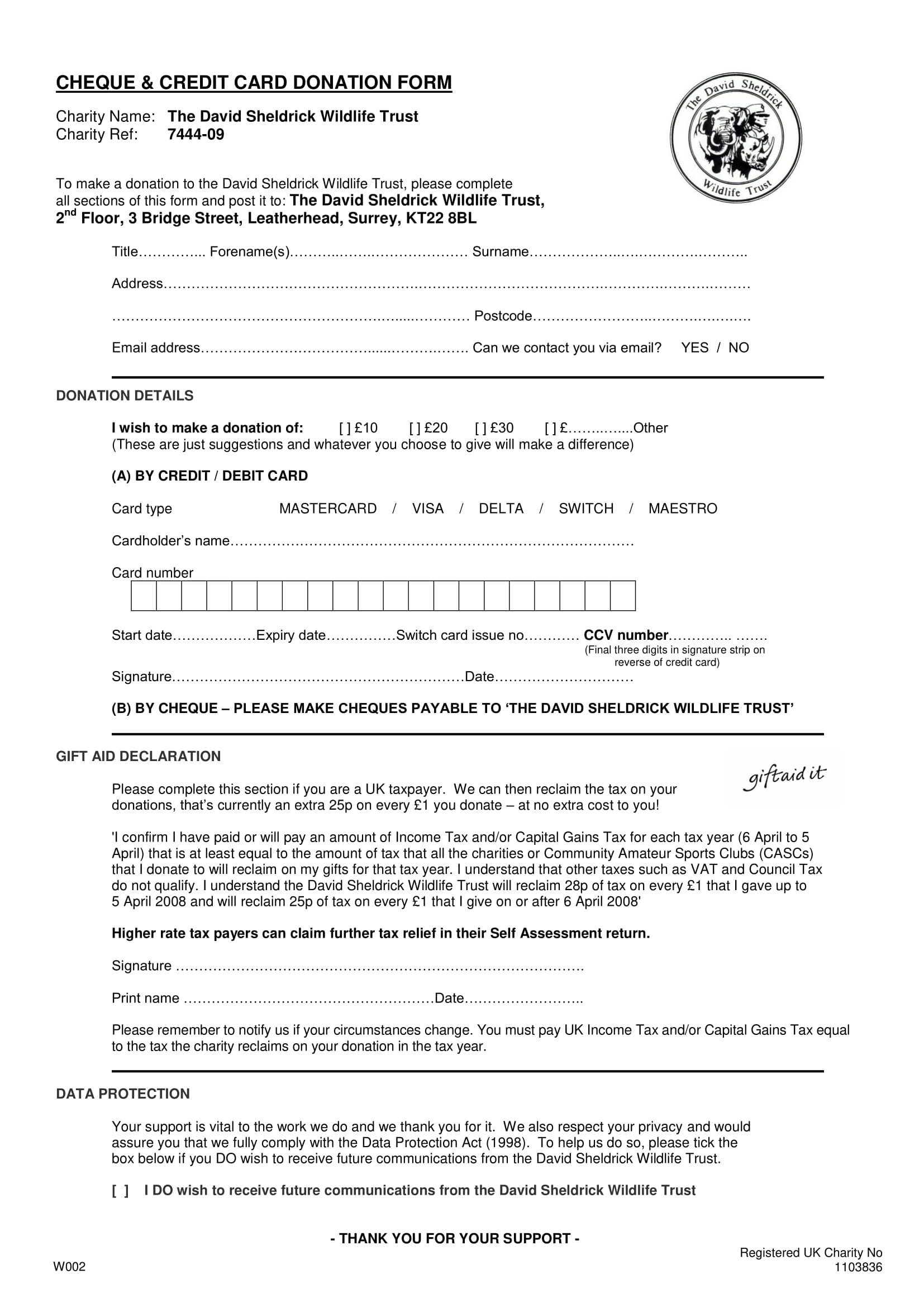 cheque and credit card donation form 1