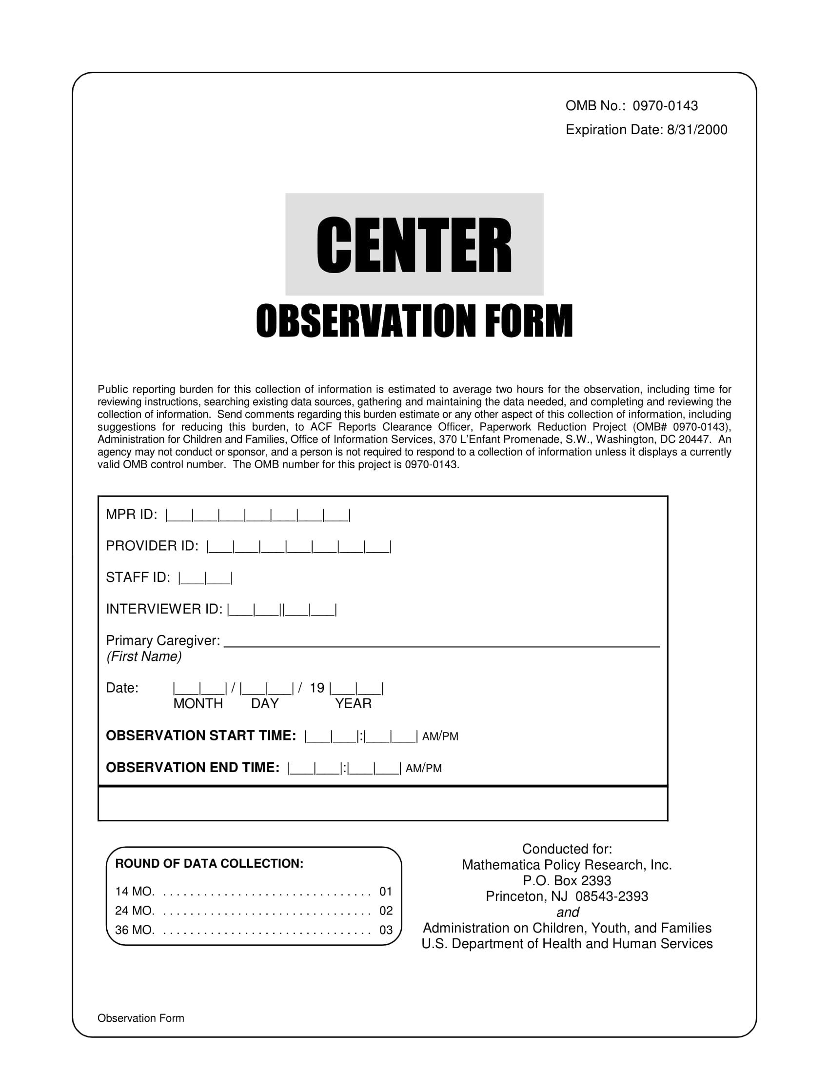 Child Care Center Observation Form