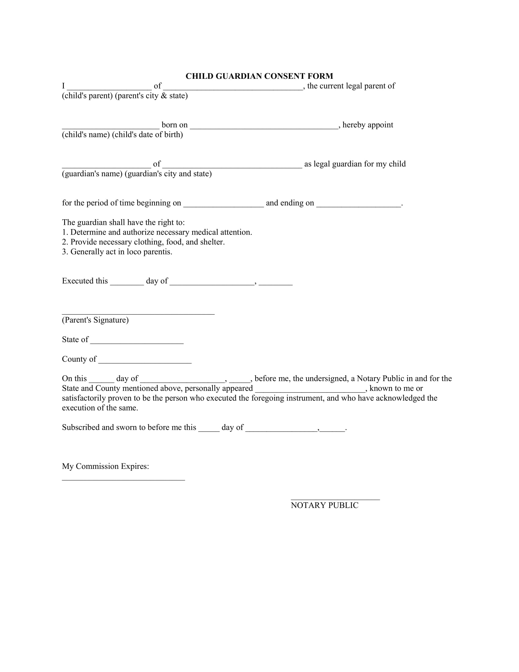 child guardian consent form 1