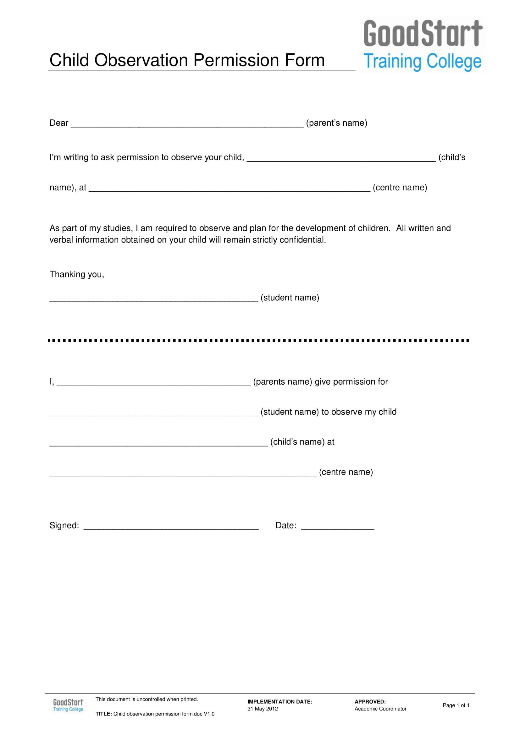 child observation permission form 1
