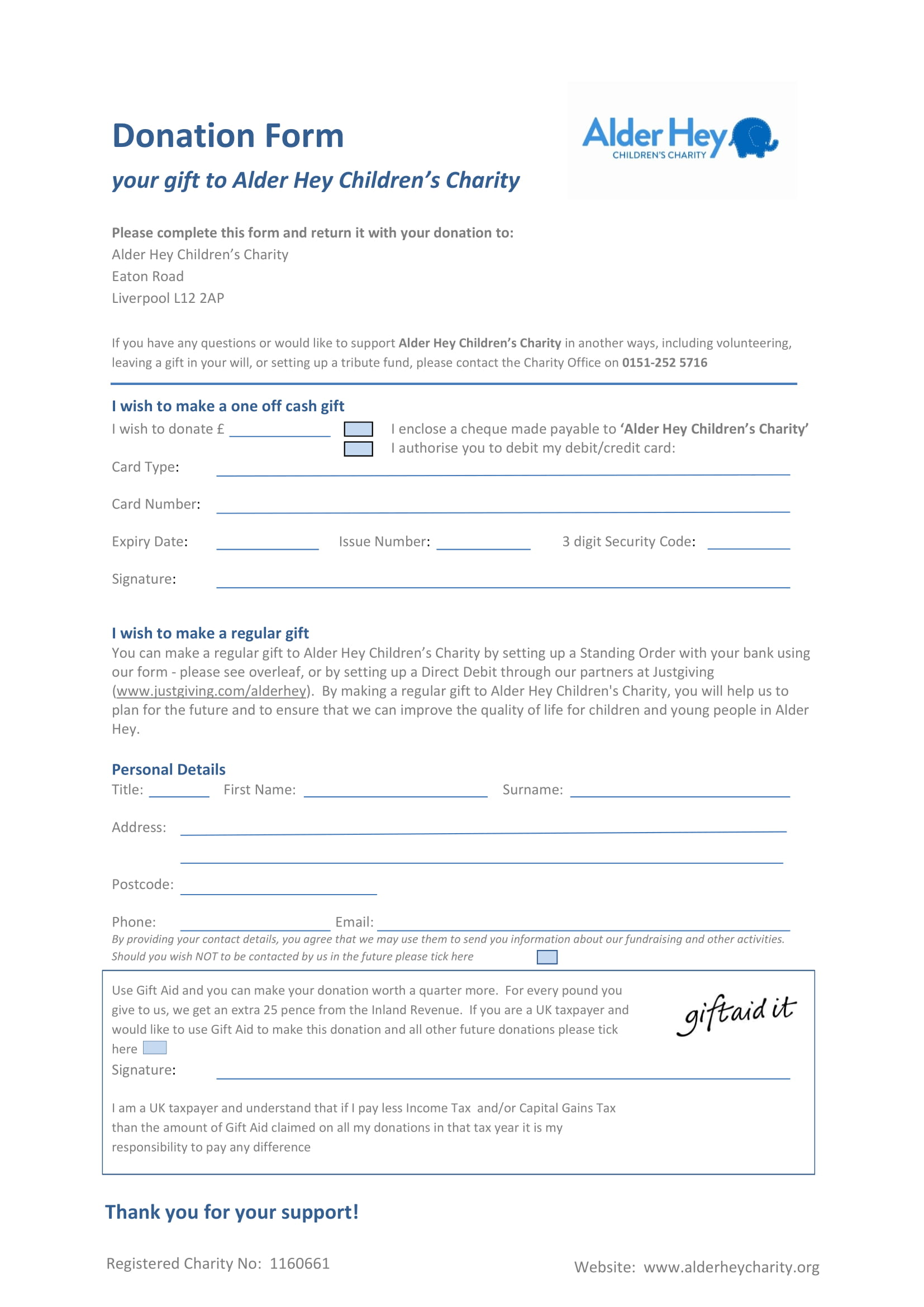 childrens charity donation form 1