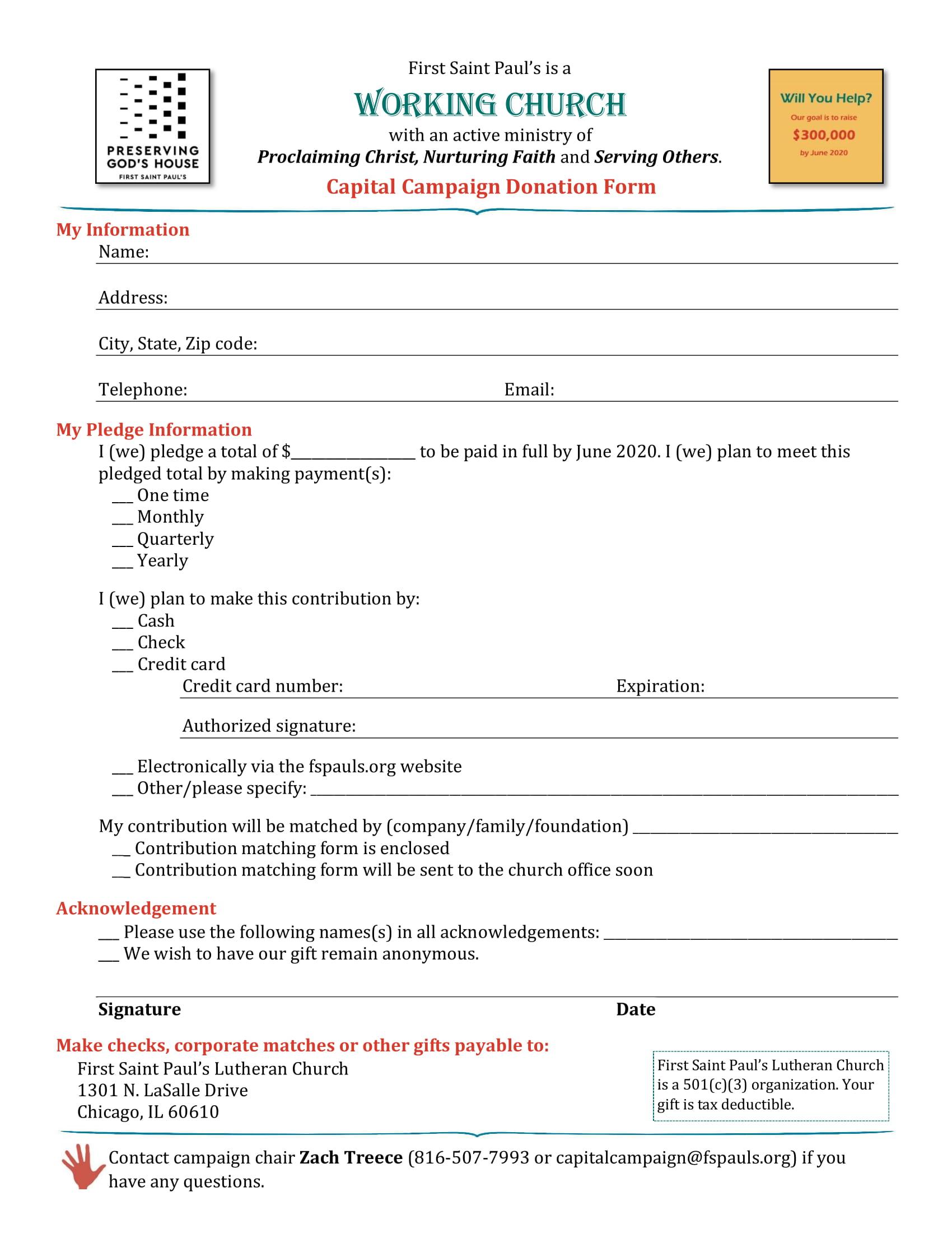 church capital campaign donation form 1