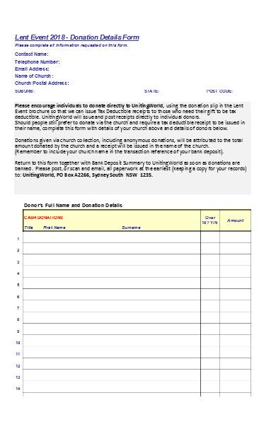 church donation details form