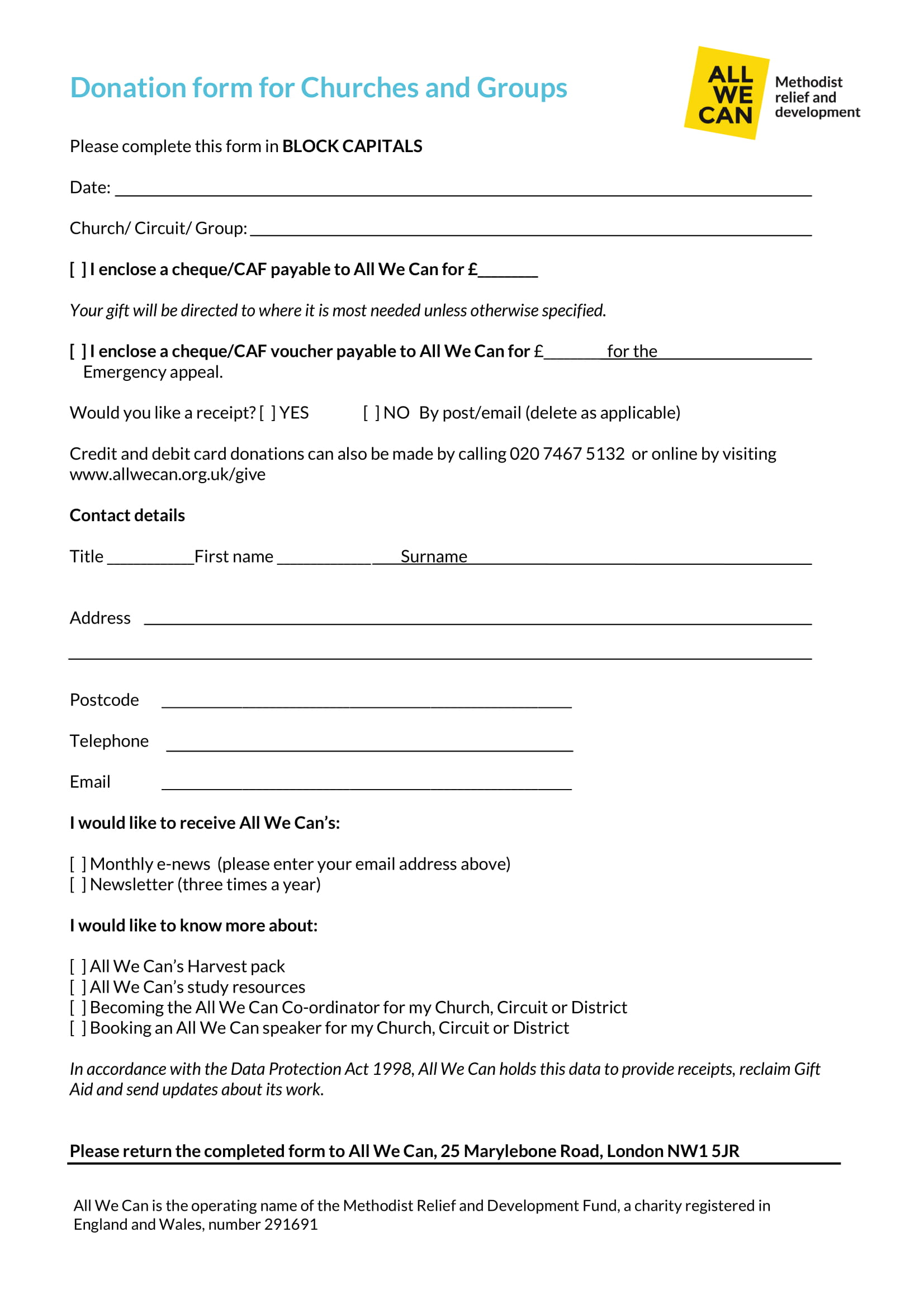 church donation form sample - People.davidjoel.co