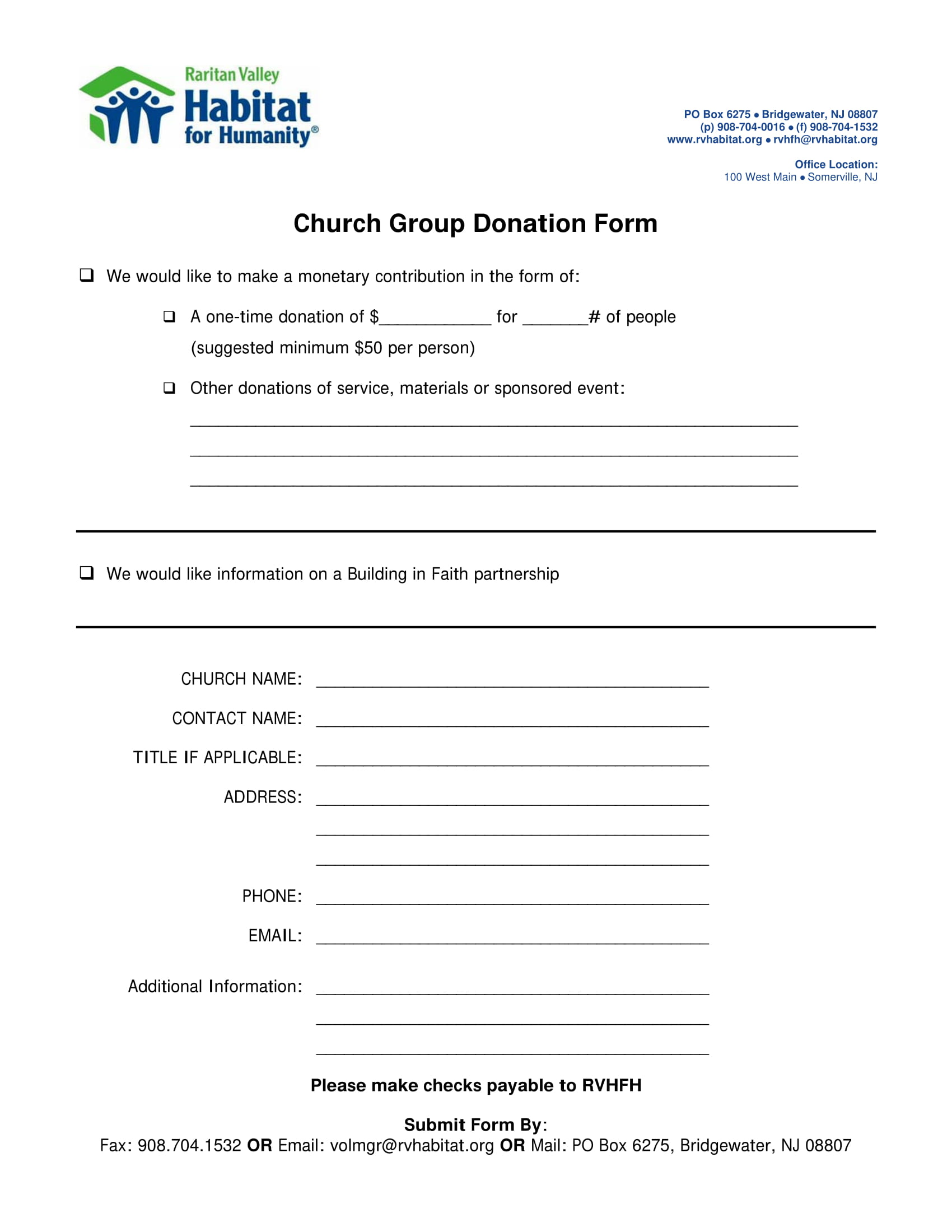 4 church donation forms pdf downloadable